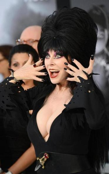 Actress Cassandra Peterson (a.k.a Elvira, Mistress of the Dark).